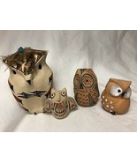 Mixed Lot 4 Caly Owl Figurines Hand Painted Very Detailed - $49.49