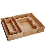 Bamboo Wood Drawer Organizer Boxes, Assorted Sizes, 5-Piece Set - $59.89
