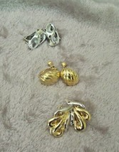 VINTAGE Lot 3 Goldtone & Silvertone CLIP EARRINGS 1970's NAPIER - $8.75