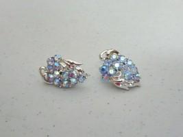 Vintage CORO Clip On Earrings Stunning AB Blue Rhinestones Silver Tone - $17.50