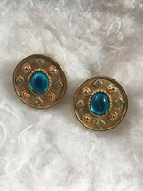Vintage Gold Tone Clip On Earrings With Blue Glass Stones - $8.00