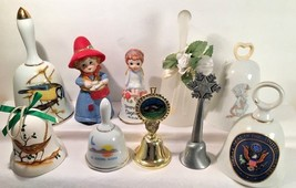 """Lot of 10 Collectors Bells Assorted Collectibles 3 1/4"""" - 5 3/4"""" Bell Po... - $16.78"""