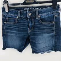 American Eagle Cut Off Midi Shorts Size 2  Super Stretch Blue Jeans - $9.98