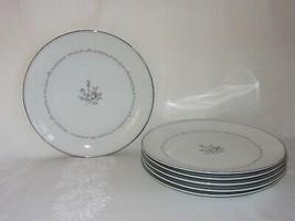 """6 Noritake Mayfair China Dinner Plates 10 1/2"""" Vtg Pink Rose Platinum Rim - $47.51"""