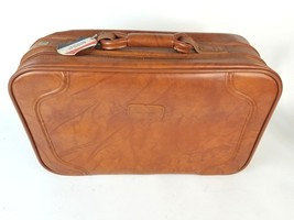 Vintage American Tourist Brown Leather Suitcase Luggage -Free Shipping - $59.35