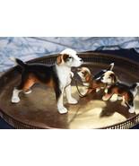 VINTAGE PORCELAIN HOUND DOG FIGURINE SET MOM &  2 PUPPIES JAPAN - $79.99