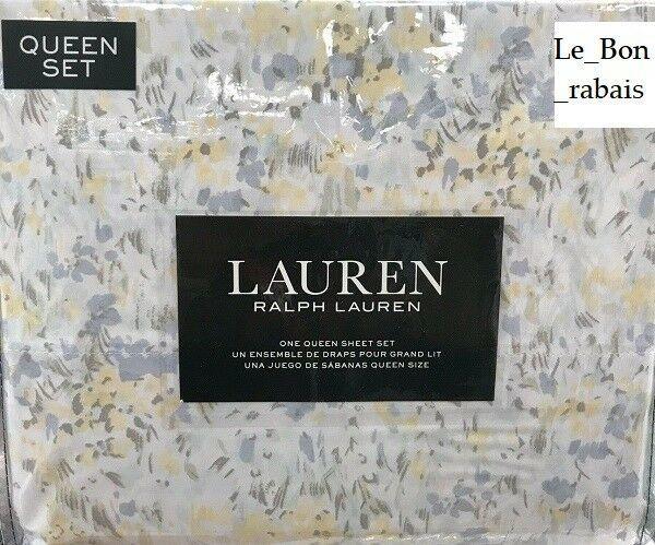 Ralph Lauren 100% Cotton Multi-Color Spring watercolor Floral Queen Sheet Set