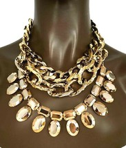 Doré Chaîne Faux-Diamants Multicouches Multi-Brins Fantaisie Collier Boucle - $30.51