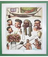 SOUTH AMERICA Indians Botocudos Camacans - COLOR Antique Print A. Racinet - $10.09