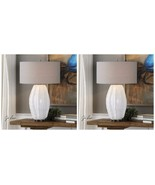 "PAIR MODERN 29"" GLOSS WHITE CERAMIC TABLE LAMP BRUSHED NICKEL DETAIL LIGHT - $633.60"