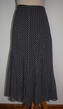 Jones New York Collection Sz 16 Skirt Silk Black White Circles Pleated A... - $33.65