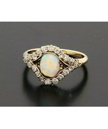 Vintage 14k Yellow Gold Ring with Opal and .36 ctw Old Cut Diamond Size 7 - $849.00