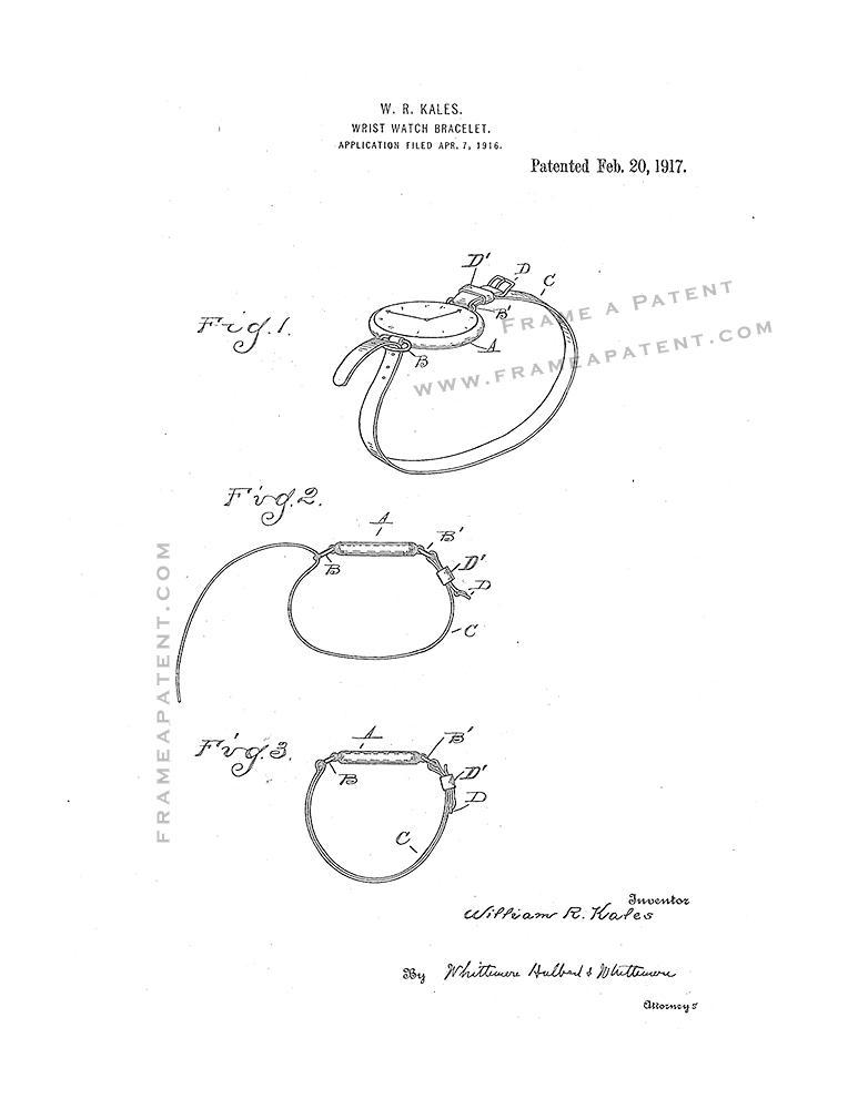 Primary image for Wrist-watch Bracelet Patent Print - White