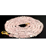 """Natural Rose Quartz Faceted 3-4mm Beads Necklace Strand 22"""" Inch Jewelry - $20.34"""