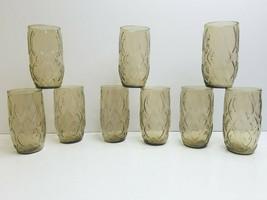 "9 Anchor Hocking Madrid Brown MCM 5"" Retro Decor 10 Oz Glasses 60s Flat ... - $65.21"