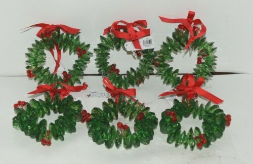 Ganz Crystal Expressions ACRYX165 Holiday Wreath Ornament Red Green Set of 6