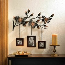 Wall Decor 3 Photo Frames Hang from Stunning Metallic Butterfly on Leaves   - $41.95