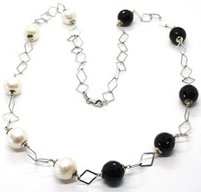 Necklace Silver 925, Onyx Black Faceted, Pearls, 62 cm, Chain Rhombuses - $136.31