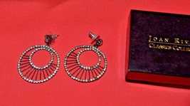 Joan Rivers round rhinestone earrings drop dangle classics collection Go... - $34.64