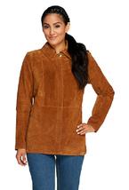 Liz Claiborne New York Suede Zip Front Barn Jacket, Saddle Brown, Size 8, $148 - $49.49
