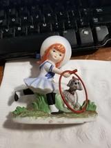 Lefton KW1231 Sailer Girl Redhead Hoola Hoop and Dog Doggie Figurine - $9.89