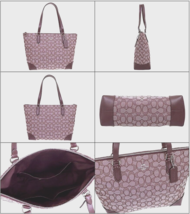 New Coach 29958 Outline Signature Zip Tote Jacquard handbag Raspberry - $94.00