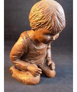 SOMERVILLE SCULPTURE Statue KNEELING BOY IN OVERALLS Pecan Shell Resin Rose - $45.43