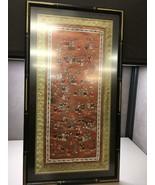 Chinese Silk Embroidered 100 Children Tapestry Framed Art Orange Background - $102.99
