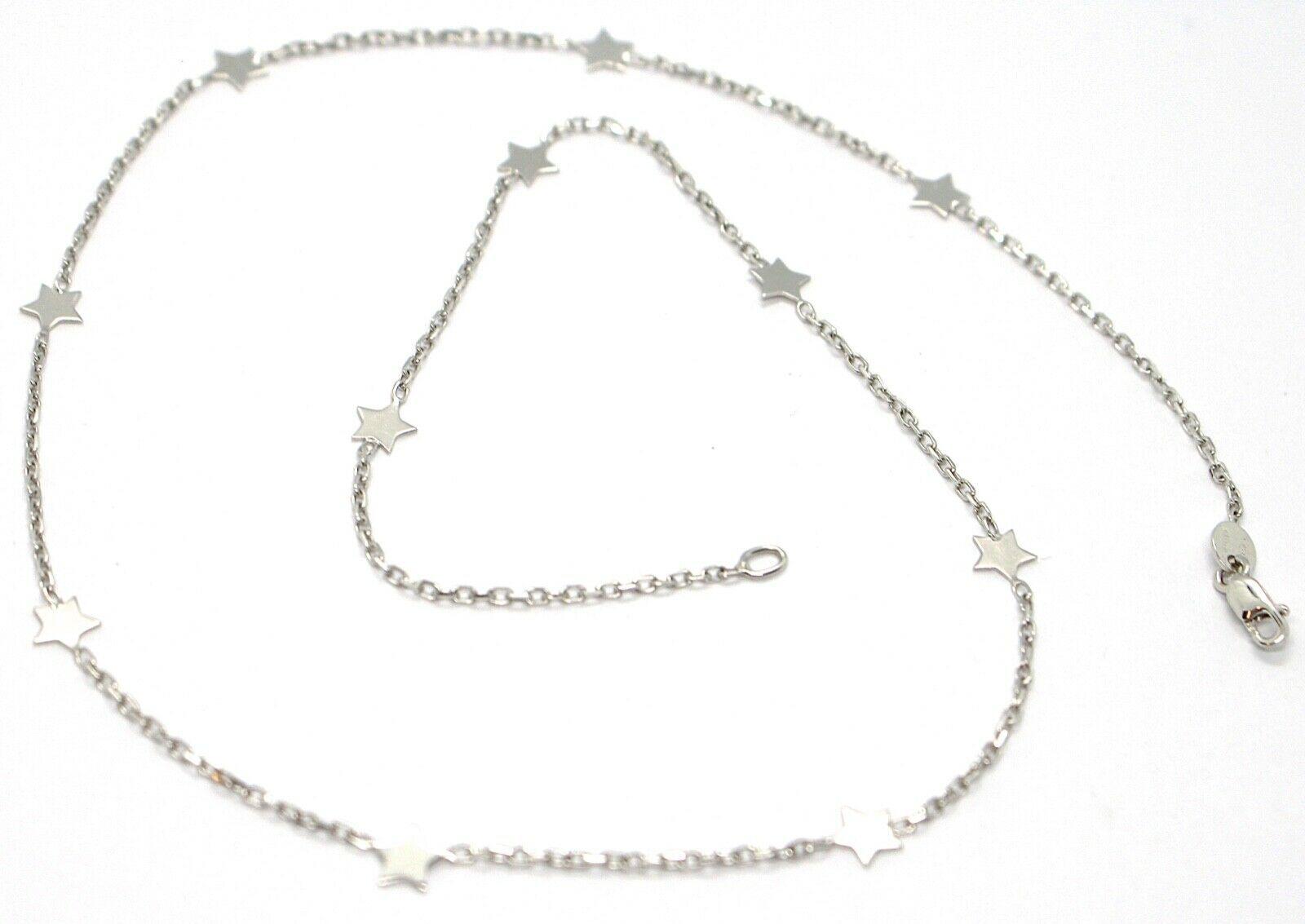 Collar Oro Blanco 750 18K, Cadena Rolo Cuadrado, Estrellas Planas Alternate