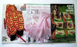 Lot of 3 Vintage Afghan Knitting & Crochet Booklets for All Occasions & ... - $5.65