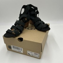 UGG Women's Yasmin Snake Gladiator Sandal Wedges Shoes, SIZE 7.5, Black - $48.50