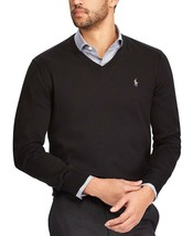 New $98 Polo Ralph Lauren Black Pima Cotton Gray Pony V-NECK Sweater Size Xs - $49.49