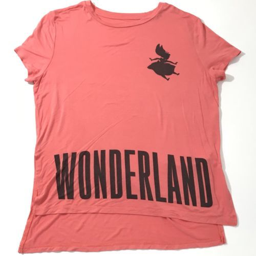 DISNEY Alice In Wonderland Shirt Women Sz Large Pink Short Sleeve Top Blouse
