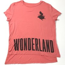 DISNEY Alice In Wonderland Shirt Women Sz Large Pink Short Sleeve Top Bl... - $16.88