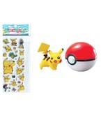 Pokémon Pikachu Set Action Figure PokéBall and 3-D Pokémon Stickers, Toy... - $10.76
