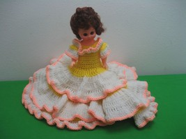 "Vintage 13"" Southern Sweetheart Doll 3 Tiered Full Knitted White & Yello... - $19.75"