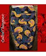 LuLaRoe Cassie Pencil Skirt Medium M Paisley Black Multi Color Bright New - $29.69