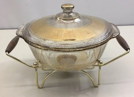 Fire King Culver 2 Qt Coronet Casserole Dish #15 w/ Warming Serving Cradle Gold - $49.49