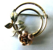 Vintage Krementz Gold Tone Metal Signed Wreath rose flowers pin brooch - $23.76