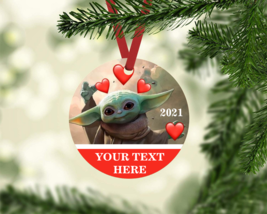 BABY YODA HEARTS PERSONALIZED 2021 VALENTINE'S GIFT TAG ORNAMENT YOUR TE... - $9.85