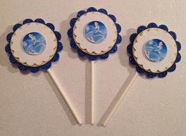 Cinderella Cupcake Topper Disney Birthday Anniversary Party Blue Handmade New - $15.00