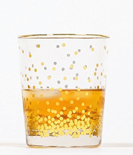 8 Oak Lane EC014CON Confetti Dot Old Fashioned Glass, 8 oz, Gold