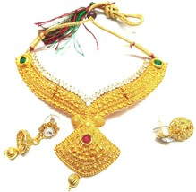 Indian New Gold Plated maroon Women Jewellary Gorgeous Necklace Earrings... - $11.87