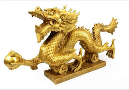 10CM Chinese Geomancy Gold Dragon Figurine Statue Ornaments for Luck & S... - $13.99