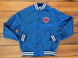 "Vintage 80s Chicago Bears NFL Shiny Nylon Baseball Patch Mascot Jacket 45"" M USA - $319.99"