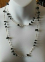 Signed MLD 925 India black Faceted Stone & Baroque Pearl Chain Necklace   - $84.15