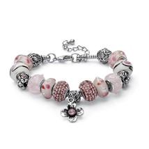 "PalmBeach Jewelry Pink Crystal Silvertone Bali-Style Beaded Charm Bracelet 8"" - $23.99"