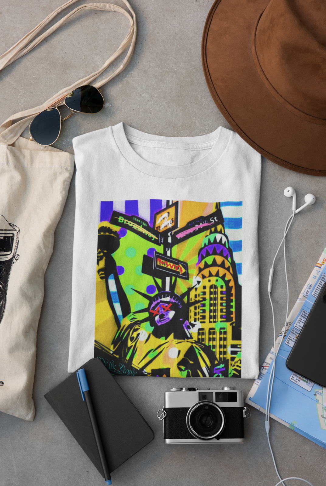 Mockup of a folded t shirt placed between some accessories 33794  21