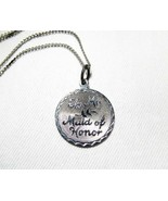 """Vintage Sterling Silver """"To My Maid of Honor"""" Pendant Necklace 18"""" C2358 - $19.28"""