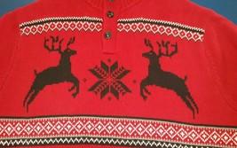 Ralph Lauren Chaps Red Christmas Reindeer Deer Snowflake Lodge Sweater Men's XXL - $59.39
